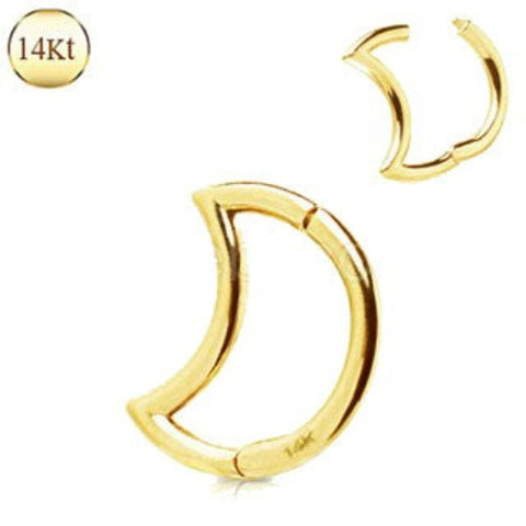 14Kt. Yellow Gold Crescent Moon Seamless Clicker Ring - Fashion Hut Jewelry