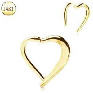 14Kt. Yellow Gold Lovely Heart Seamless Clicker Ring - Fashion Hut Jewelry
