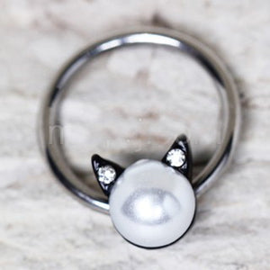 316L Stainless Steel Pearl Cat Snap-in Captive Bead Ring / Septum Ring - Fashion Hut Jewelry