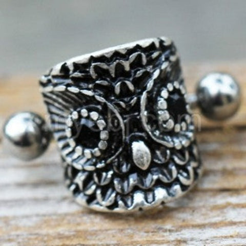 316L Stainless Steel Forest Owl Cartilage Cuff Earring - Fashion Hut Jewelry