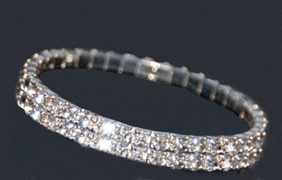 Double Row Crystal Stretch Bracelet - Fashion Hut Jewelry