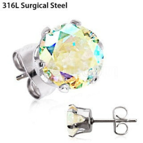 Pair of 316L Stainless Steel Aurora Borealis Round CZ Stud Earrings