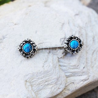 316L Stainless Steel Vintage Charm Nipple Bar with Turquoise Stone - Fashion Hut Jewelry