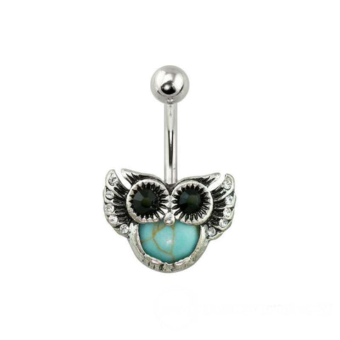 Antique Silver Turquoise Gem Owl 316L Surgical Steel Navel Ring - Fashion Hut Jewelry