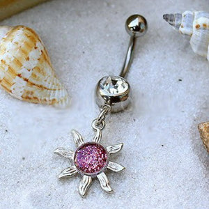 316L Stainless Steel Belly Ring with Glitter Sol Sunburst Dangle - Fashion Hut Jewelry