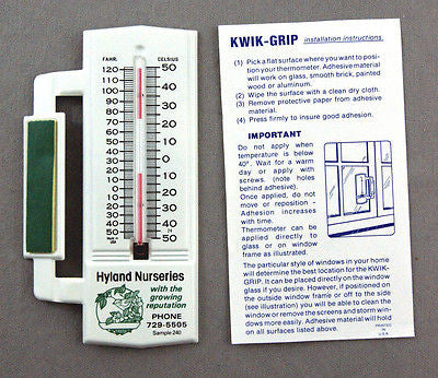Vintage 1981 Hyland Nurseries KWIK GRIP Tin Window Thermometer