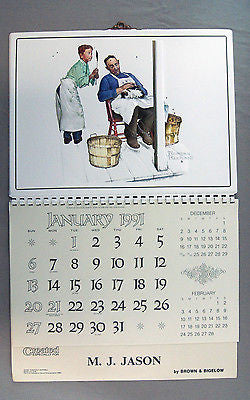1991 2019 Norman Rockwell Swatter's Rights Formcraft Vacuum Form Calendar