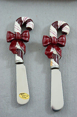 Vintage 1980's Polystone Candy Cane Butter Knife Set