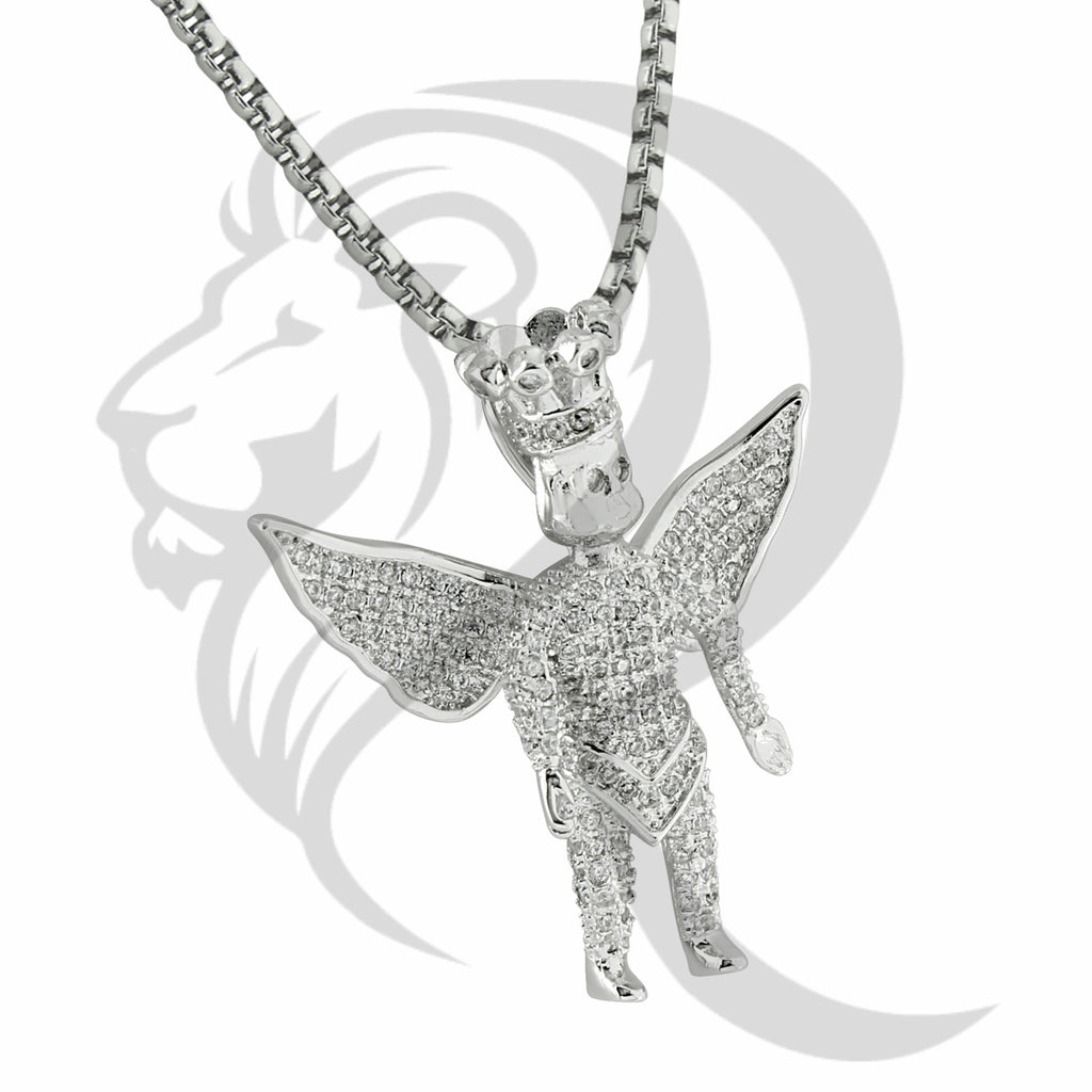 IcedOut Wings Angel Crown White Tone Pendant
