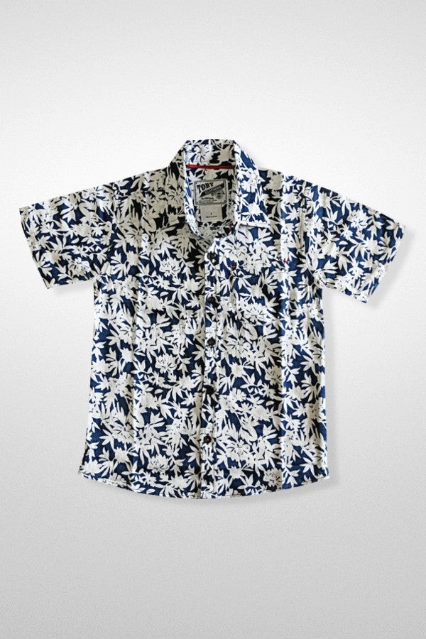Navy Tropical Print Boys Button Down Shirt
