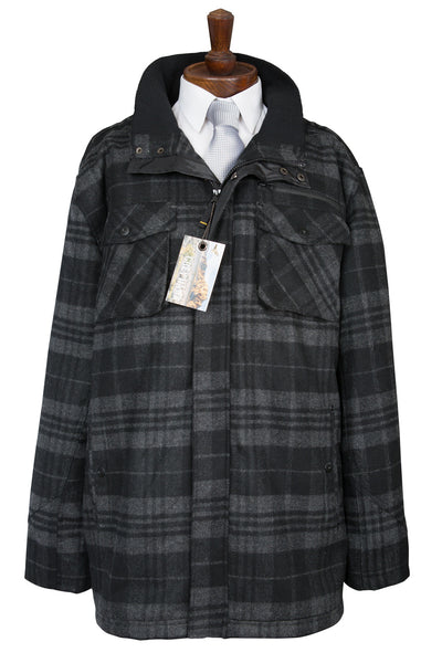 mens check coat lumberjack black grey charcoal winter warm