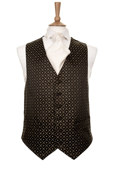 Black waistcoat gold pattern spot check mens wedding smart