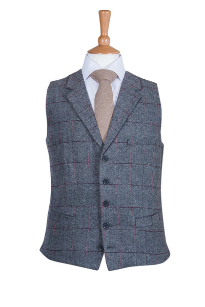 grey tweed country chic rustic wedding celebration waistcoat formal