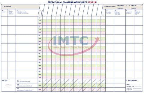 "All-Hazards NG 215 - NG Operational Planning Worksheet Wall Chart - 44""x68"""