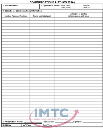 "ICS 205A - Communications List - 24""x36"" Laminated Wall Chart"