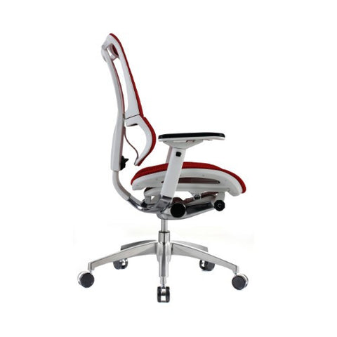iOO Eurotech Ergonomic Office Chair in Bright Red Mesh and White Frame, Profile View