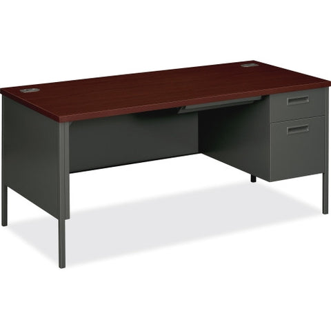 HON Metro Classic Steel Right Single Pedestal Desk HONP3265RNS, Mahogany (UPC:641128323871)