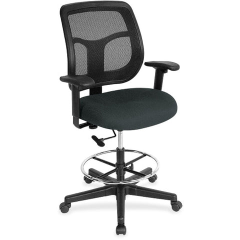 "Eurotech_Eurotech Apollo Draft Stool - Multifunction - Black Mesh Back - Black Fabric Seat - 56"" Max Height_Black / Factory Direct"