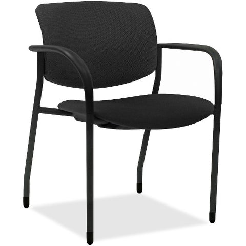 Lorell Made in America Contemporary Stacking Chairs in Black, 2/CT ; UPC: 035255830751