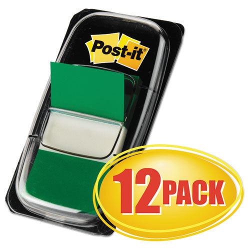 3M Flags Value Pack, Green, 1 in Wide, 50/Dispenser, 12 Dispensers/Pack MMM680GN12, Green (UPC:051135811771)