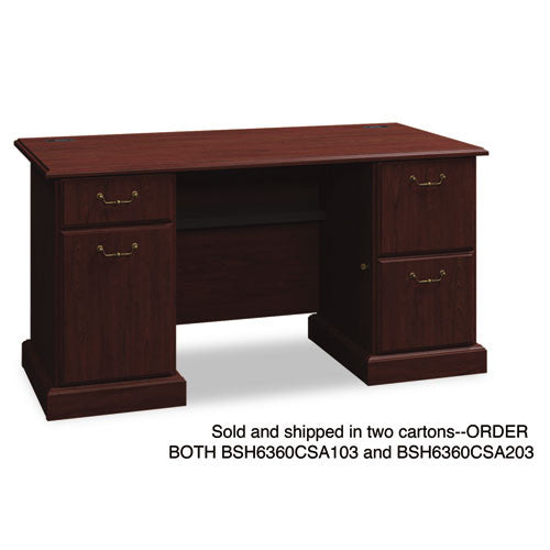 Bush Syndicate 60W Double Pedestal Desk Box 1 of 2 BSH6360CSA103, Cherry (UPC:042976636029)