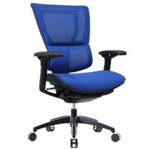 iOO Eurotech Ergonomic Office Chair in Bright Blue Mesh and Black Frame, Angled View