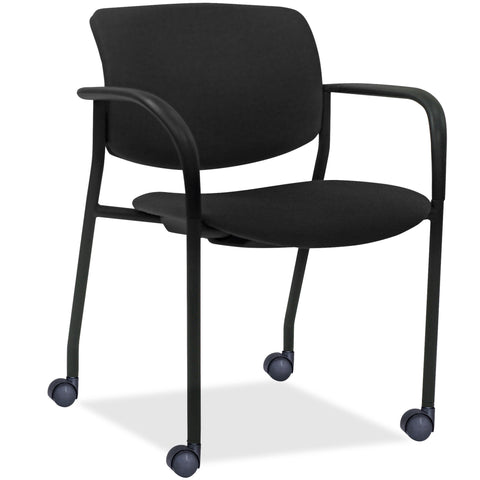 Lorell Made in America Stack Chairs w/Plastic Back & Fabric Seat in Black, 2/CT ; UPC: 035255830751