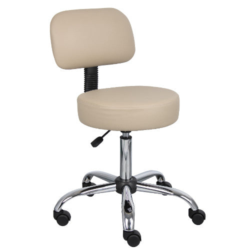 Boss Beige Caressoft Medical Stool, Stools W/ Back Cushion ; UPC:751118024524
