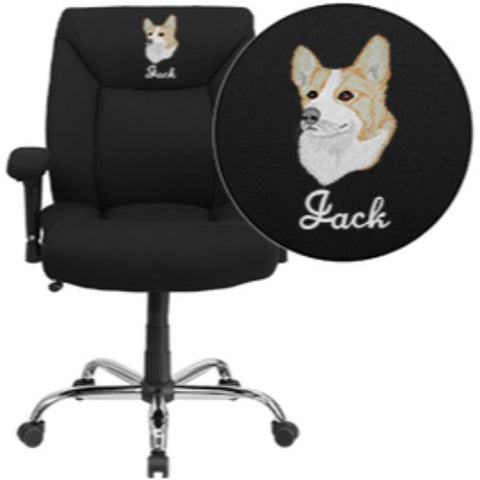 Embroidered HERCULES Series 400 lb. Capacity Big & Tall Black Fabric Swivel Task Chair with Height Adjustable Arms; (UPC: 889142004486); Black