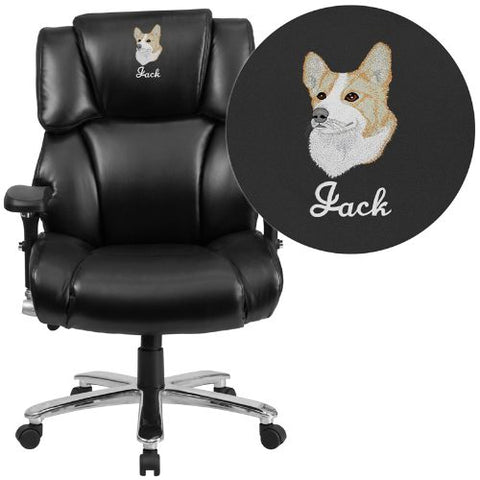 Embroidered HERCULES Series 24/7 Intensive Use, Multi-Shift, Big & Tall 400 lb. Capacity Black Leather Executive Swivel Chair with Lumbar Support Knob; (UPC: 889142017707); Black