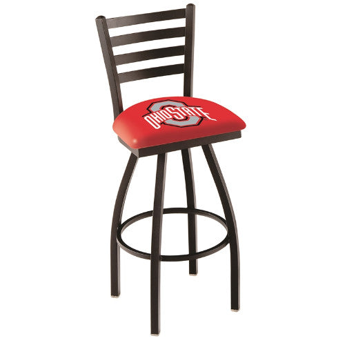 "36"" Black Wrinkle Ohio State Swivel Bar Stool with Ladder Style Back by Holland Bar Stool Co.; UPC: 071235005139"