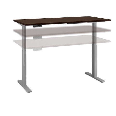 Bush Move 60 Series 60W x 30D Height Adjustable Standing Desk, Mocha Cherry Satin M6S6030MRSSK ; UPC: 042976067908 ; Image 1