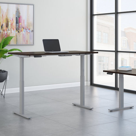 Bush Move 60 Series 60W x 30D Height Adjustable Standing Desk, Mocha Cherry Satin M6S6030MRSSK ; UPC: 042976067908 ; Image 2