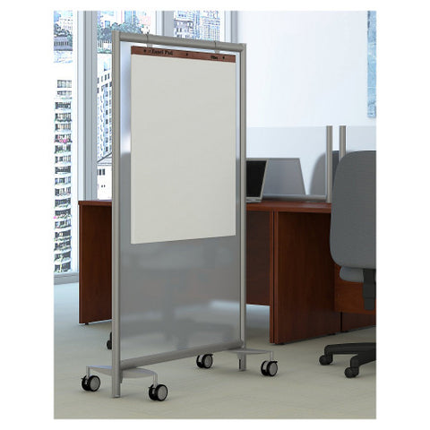 Bush Privacy Screens Freestanding Frosted Acrylic Screen with Wheeled Base, PSP635FRK ; UPC: 042976090630 ; Image 2