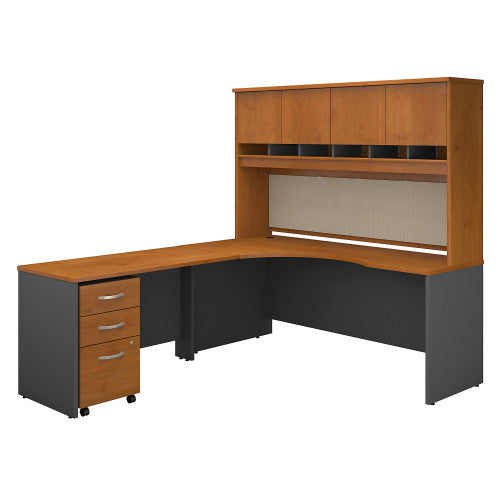 Bush Series C 72W Left Hand Corner Desk with 48W Return and Storage, Natural Cherry SRC088NCSU ; UPC: 042976052386 ; Image 1