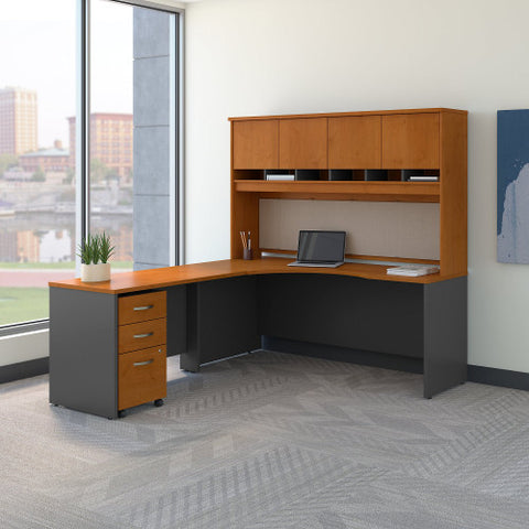 Bush Series C 72W Left Hand Corner Desk with 48W Return and Storage, Natural Cherry SRC088NCSU ; UPC: 042976052386 ; Image 2