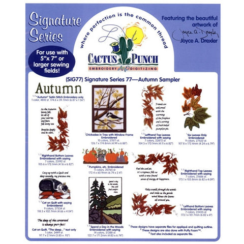Autumn Sampler Embroidery CD by Cactus Punch