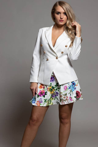 WHITE JACKET WITH DOUBLE GOLD BUTTONS