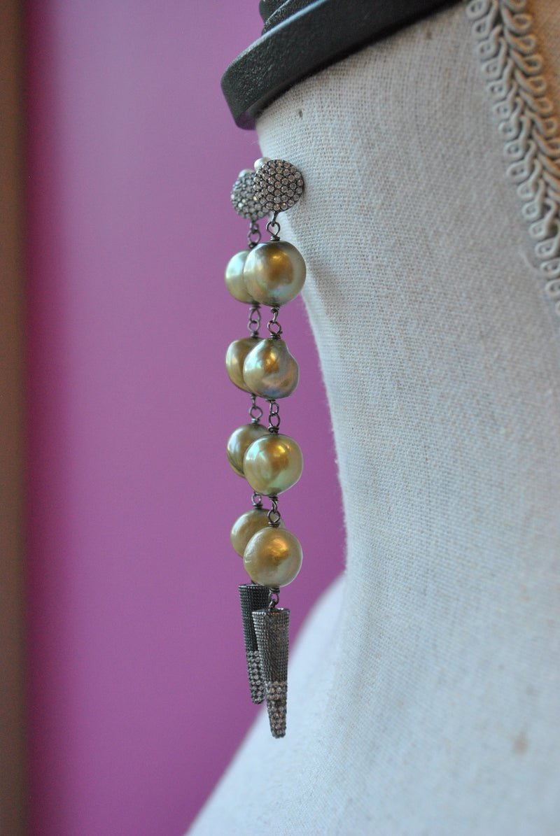 OLIVE FRESHWATER PEARLS LONG STATEMENT EARRINGS
