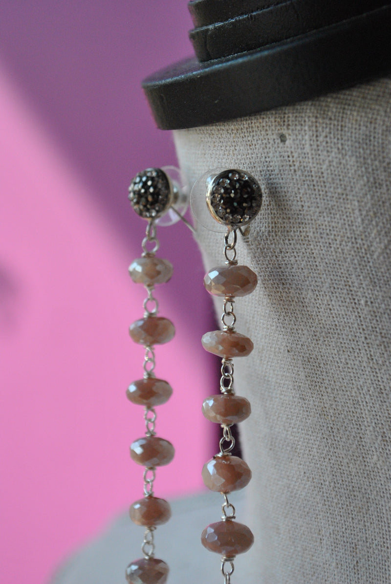PEACH MOONSTONES WHITE PEARLS AND SWAROVSKI CRYSTALS LONG STATEMENT EARRINGS