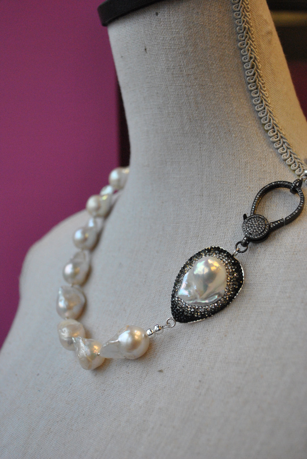 JUMBO FRESHWATER PEARLS WITH SWAROVSKI CRYSTALS AND RHINESTONES CLASP ASYMMETRIC NECKLACE