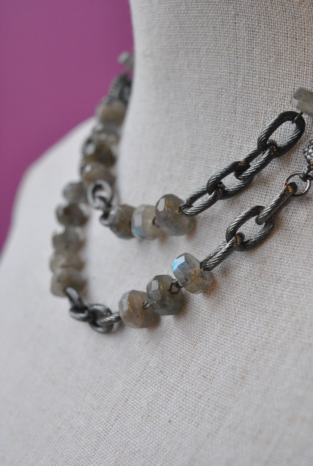 LABRADORITE AND RHINESTONES LONG NECKLACE