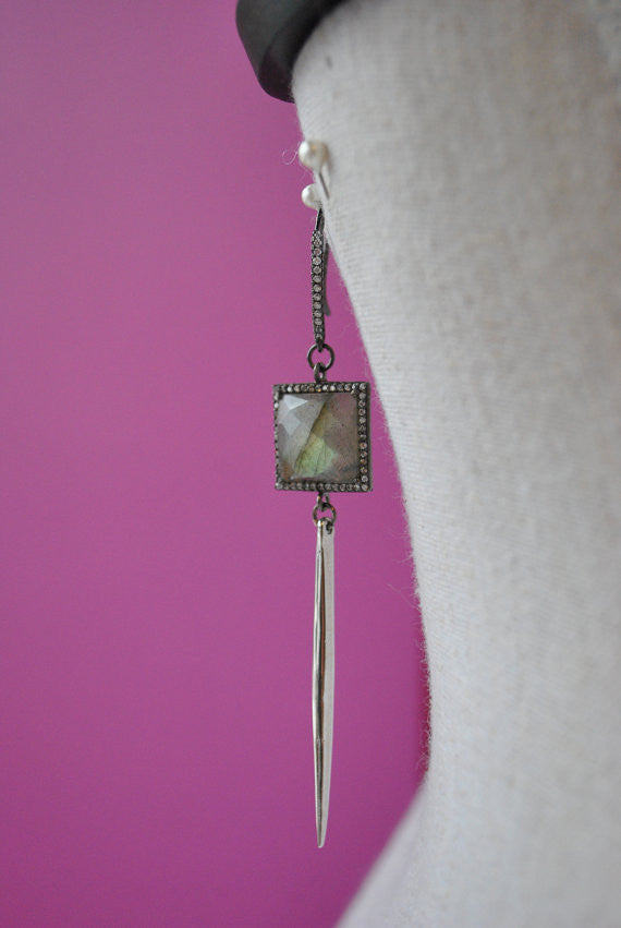 LABRADORITE SQUARES AND RHINESTONES SPIKE SILVER LONG EARRINGS