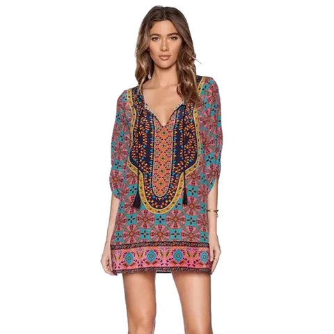Baroque Mini Boho Dress