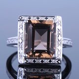 Genuine Smokey Citrine Square Princess Cut Engagement Ring With real Diamonds - ONLY 10 LEFT IN EACH SIZE!