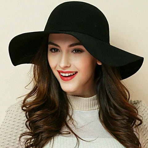 (10 Colors) 100% Wool Vintage Floppy Wide Brim Felt Fedora Cloche