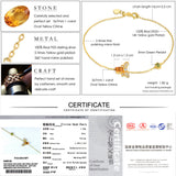 LAMOON Lovely Bee Bracelets 100% Natural Citrine 925 Sterling Silver Fine Charm Bangles