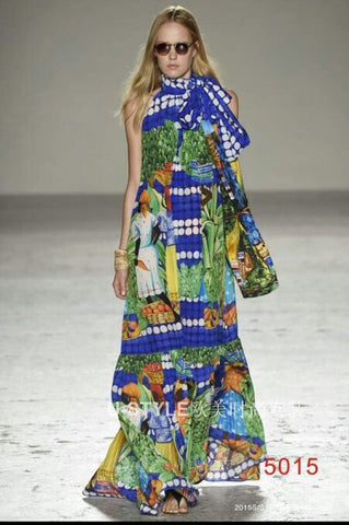 Tropical Harvest Season Print Blue Bohemian Maxi