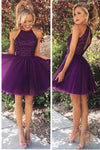 Short Grape Purple Prom Dresses Beading Homecoming Dress I1034