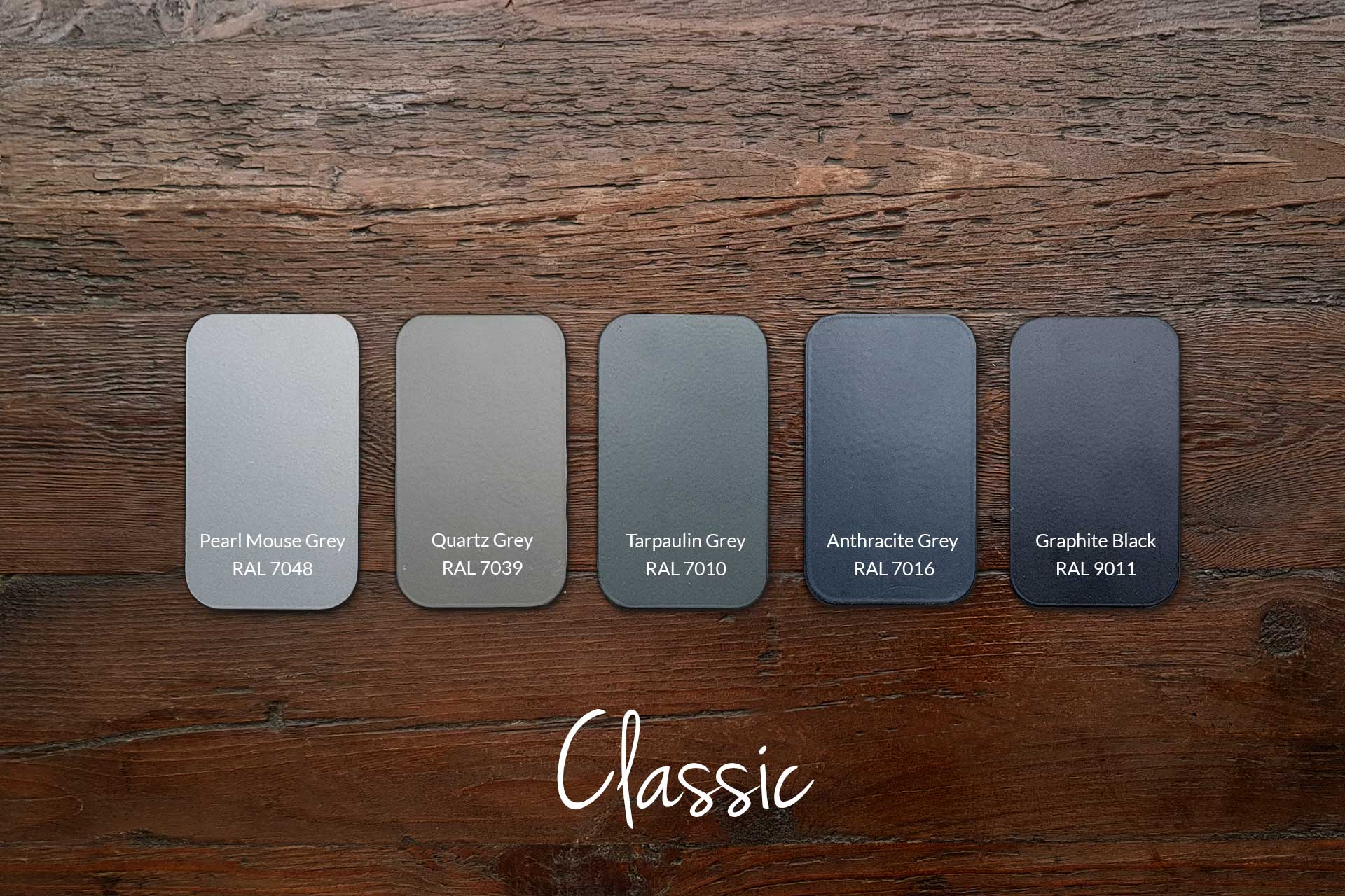 Examples of Metal Frame Colours with Our Classic Wood (samples & other colours available)
